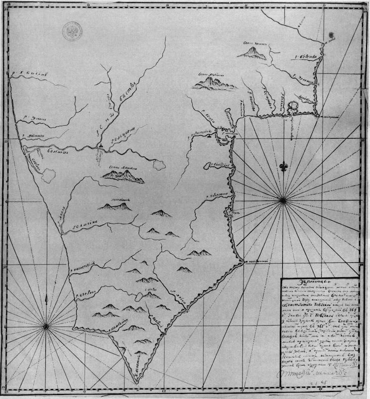 Карта Камчатки, составленная Неводчиковым в 1764–1765 гг.