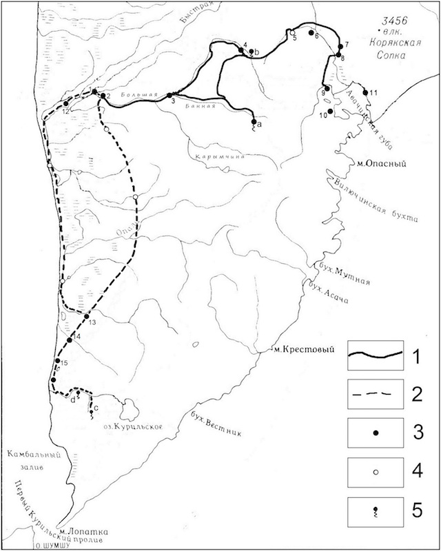 Карт-схема первого и второго маршрутов С. П. Крашенинникова
