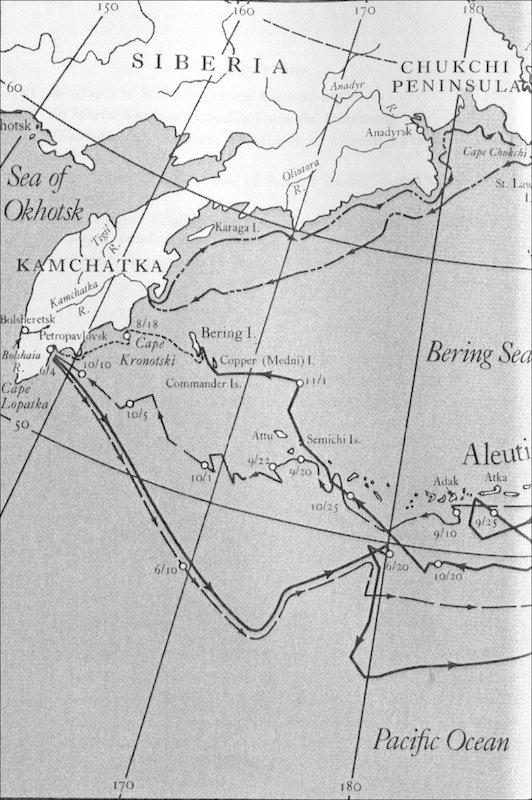 Фрагмент карты плаваний русских моряков в Северо-Западной Пацифике в 1728–1742 гг.