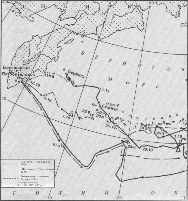Карта плаваний В. Й. Беринга и А. И. Чирикова