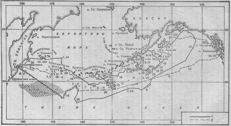 Карта плавания В. Беринга к берегам Северо-Западной Америки в 1741 г.