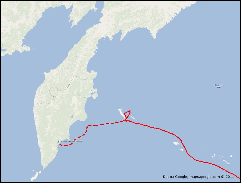 Схема плавания пакетбота «Св. Пётр» от Крысьих островов к Командорам