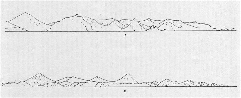 Силуэты северной части о. Медный (А) и Южной Камчатки близ входа в Авачинскую губу