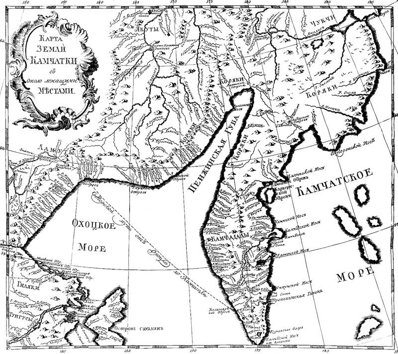 Карта земли Камчатки с около лежащими местами