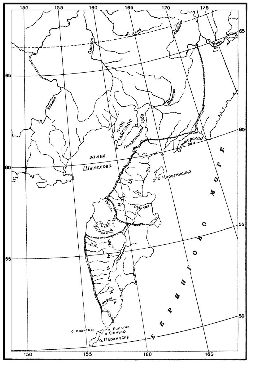 Карт-схема движения отряда В. Атласова по Д. М. Лебедеву