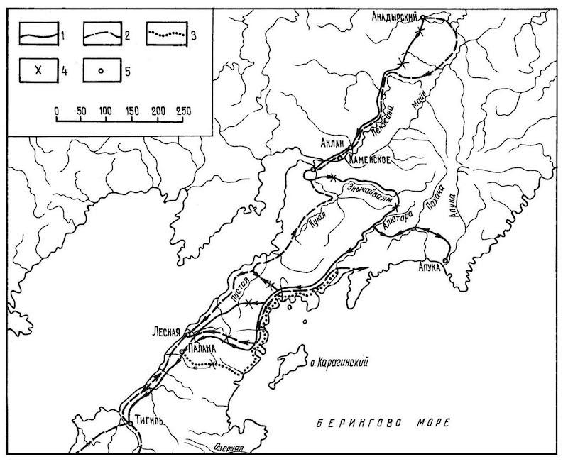 Карт-схема походов отрядов В. Атласова и Л. Морозко к реке Тигиль в 1697 г.