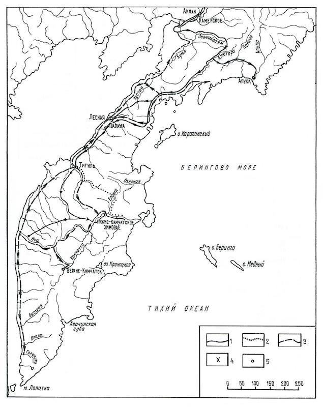 Карт-схема маршрутов отряда В. Атласова от реки Алюторы до реки Камчатки
