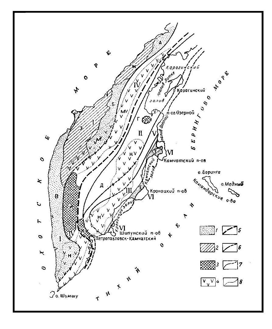 Схема тектонического районирования Камчатки