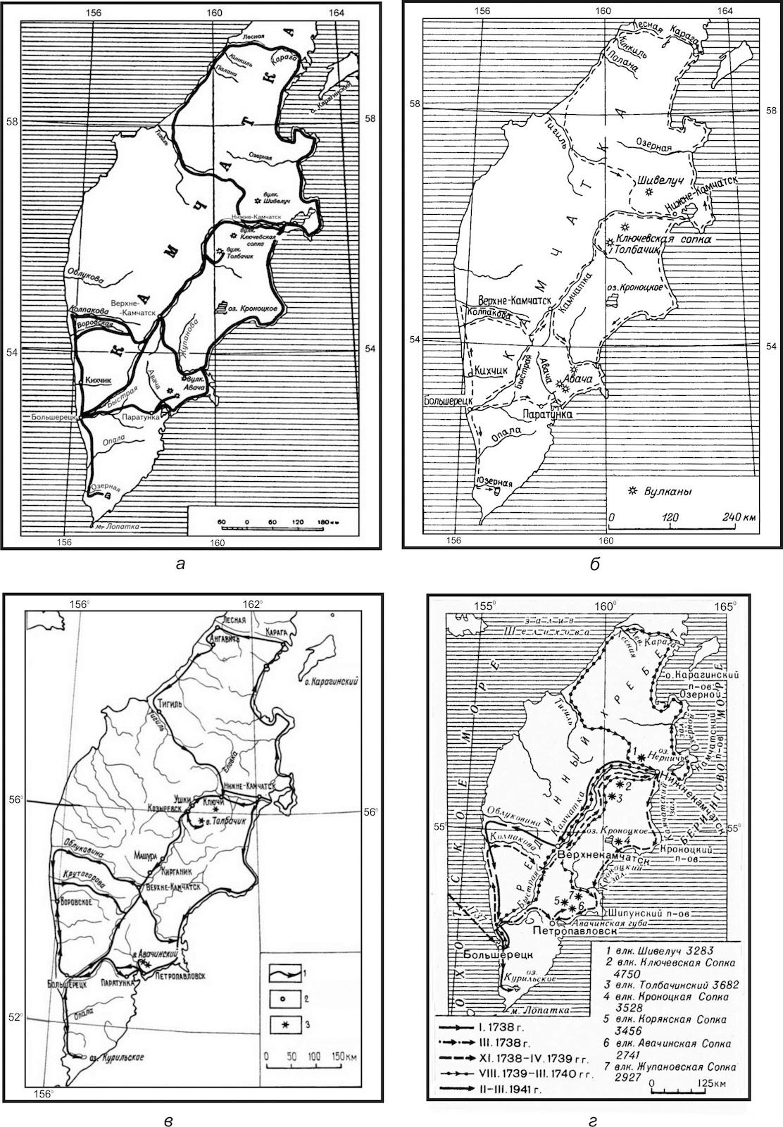 Карты поездок С. П. Крашенинникова по Камчатке разных авторов