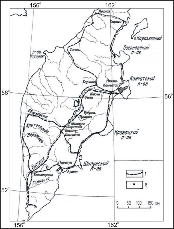 Обобщённый авторский вариант карт-схемы основных маршрутов С. П. Крашенинникова по Камчатке