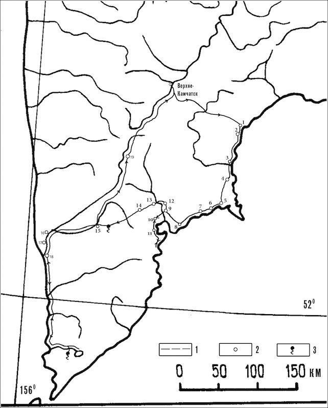Карта камчатских маршрутов Крашенинникова