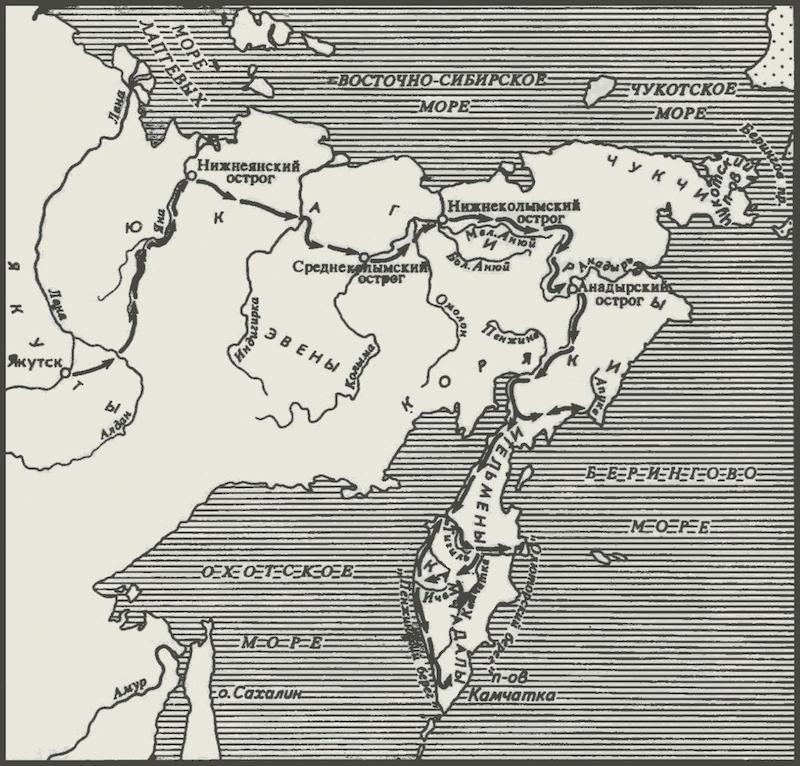 Карт-схема похода В. Атласова, составленная Г. А. Леонтьевой